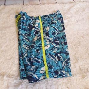 3/$15 OP aqua sharks board shorts swim trunks XL